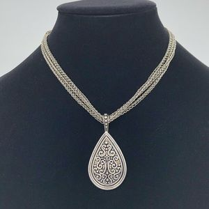 Lia Sophia Multi Chain with Pendant Silver tone